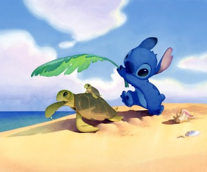 stitch, cute, and beach image