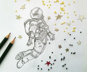 beads, cosmonaut, and drawing image