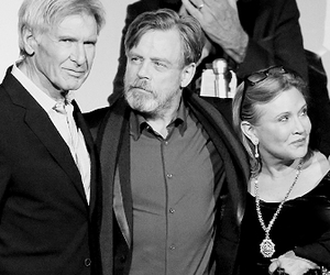 carrie fisher, han solo, and LUke image