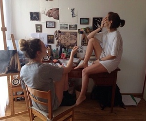 girl, friends, and art image