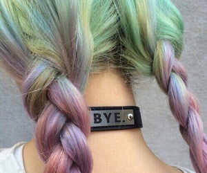 colors, hairstyle, and rainbow image