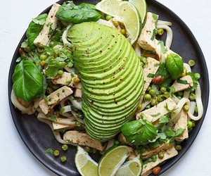 avocado, rice noodles, and tofu image