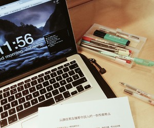 book, computer, and study image