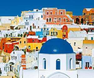 architecture, blue sky, and oia image