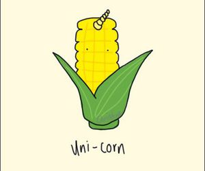 unicorn, corn, and funny image