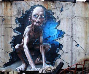 art, gollum, and graffiti image