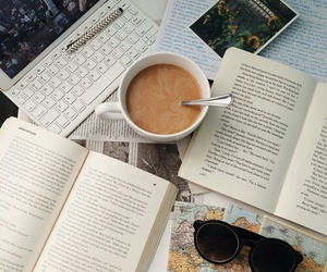 book, coffe, and girly image