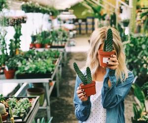 girl, cactus, and plants image