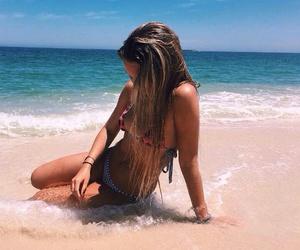 beach, girls, and bikini image