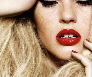 blonde, red, and lips image