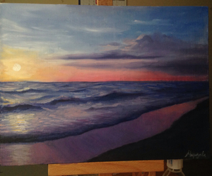 oil, painting, and sea image