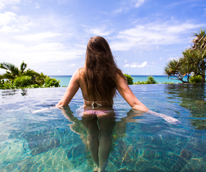bikini, fashion, and palms image