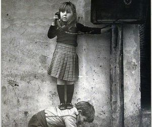 boy, black and white, and kids image