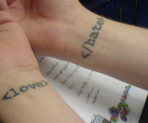 love, hate, and tattoo image