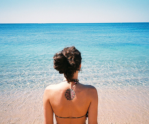 girl, beach, and tattoo image