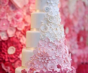 cake, wedding, and pink image