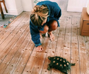 girl, turtle, and animal image
