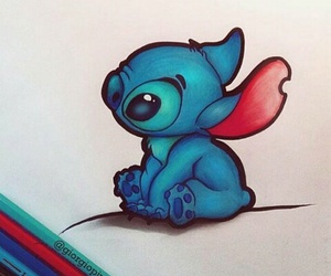 stitch, blue, and draw image