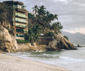 beach, sea, and house image