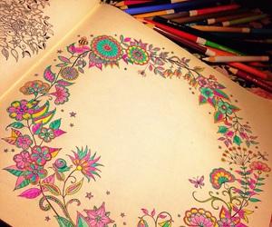 mandala, pincel, and colorir image