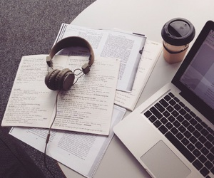 coffee, headphones, and studying image