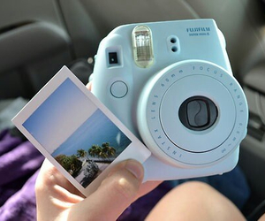 baby, blue, and polaroid image