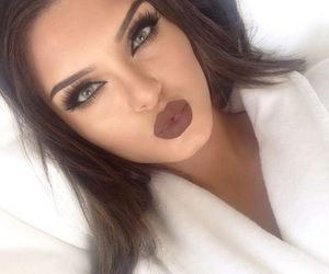 brown, make up, and lipstick image