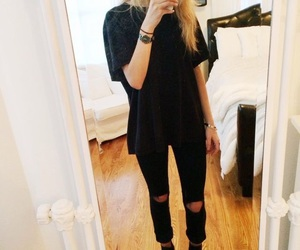black, outfit, and style image