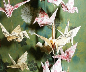 origami and paper cranes image