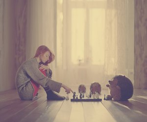 girl, chess, and alone image