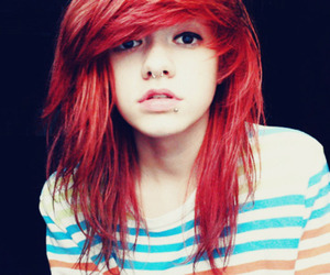 red hair, piercing, and red image