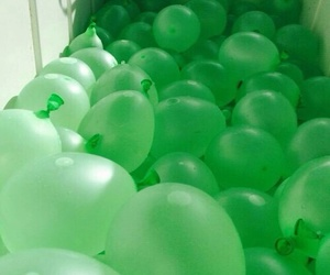green, balloons, and aesthetic image