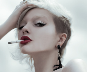 cigarette, smoke, and blonde image