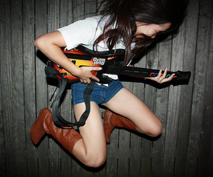 guitar hero, girl, and jump image