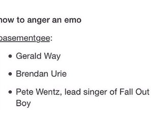 brendon urie, fall out boy, and gerard way image