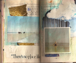 altered book, beach, and Collage image