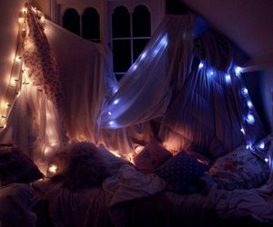 bedroom, night, and fairy lights image