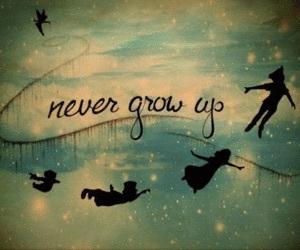 peter pan, disney, and never grow up image