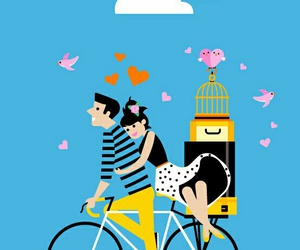 amour, bicycle, and blue image