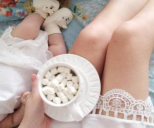 baby, marshmallows, and hot chocolate image