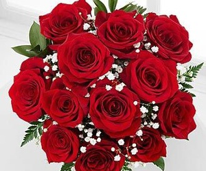 bouquet, roses, and flowers image