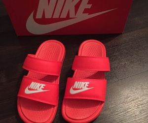 nike, red, and slides image