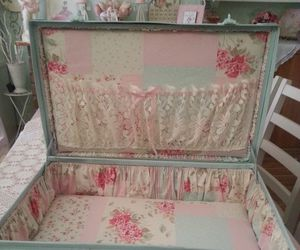 vintage, pink, and suitcase image