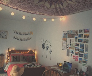 bed, bedroom, and christmas lights image