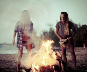 girl, summer, and fire image