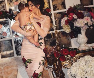 baby, roses, and mom image