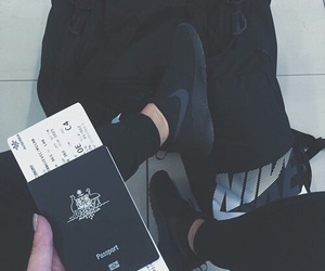 nike, passport, and black image