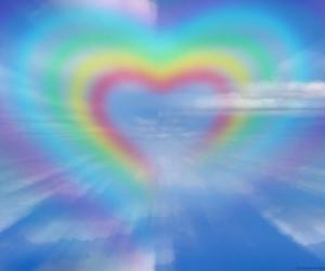 rainbow, heart, and sky image