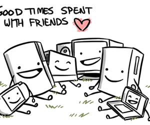 friends, computer, and heart image