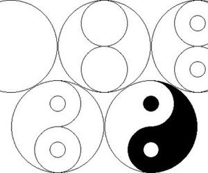 black, yinyang, and circles image
